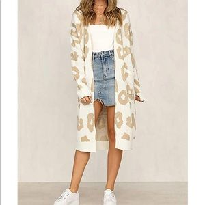 White Leopard Long Cardigan with Pockets